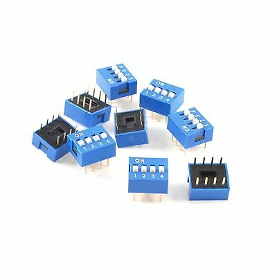 uxcell 10 Pieces Blue Double Row 8 Pin 4 Positions 2.54mm Pitch DIP Switch