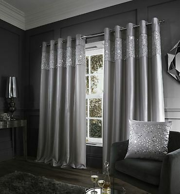 "Glitzy Curtains 66"" x 90"" Grey"
