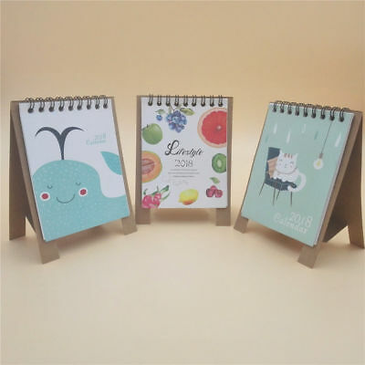 3pcs 2017-2018 16-Month Small Desk / Table Calendar Schedule Whale & Fruit &Cats