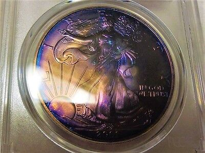 2001 American Silver Eagle Pcgs Ms67  Supurb Monster Toned Colors