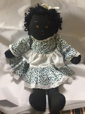 """Vintage Black Americana Cloth Doll Hand Made 19"""" + Outfit"""