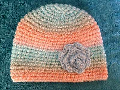 hand crochet knit baby girl hat  6-9 months multicolor