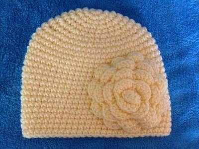 hand crochet knit baby girl hat  3-6 months sunny yellow