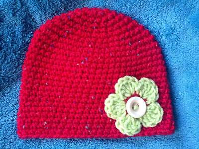 hand crochet knit baby girl hat  0-3 months red