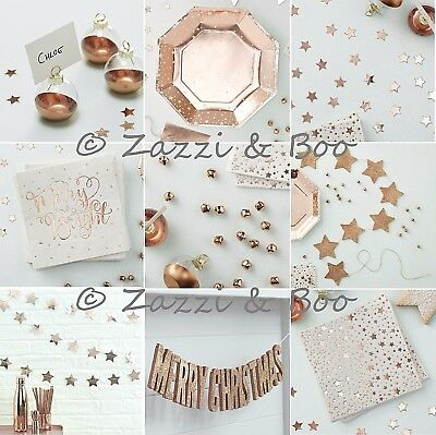 Ginger Ray Rose Gold Christmas Party Wedding Decoration Plates Napkins Bunting