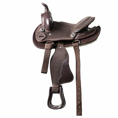Ekkia Deco Synthetic Western Saddle Havana Brown12""