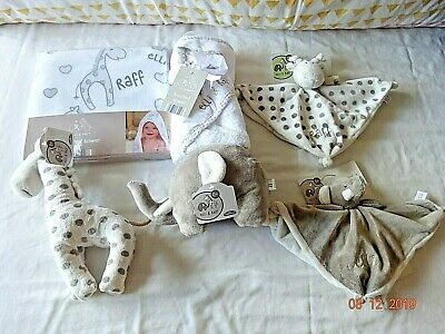 Elli & Raff Comfort Blanket,Comforter,Soft Toy Teether Plush Ring Rattle Grey