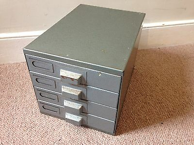 Vintage Industrial 4 Drawer Metal Filing Cabinet
