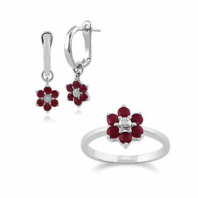 9ct White Gold Ruby and Diamond Floral Hoop Earring and Ring Set