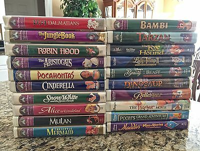 Lot of 20 Walt Disney VHS Home Video Collection Classics Masterpiece Bambi Alice