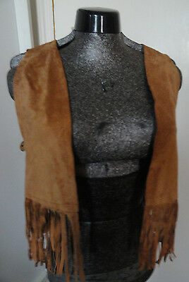 "Beyond Retro Vintage Tan Suede Fringed Waistcoat - 34"" chest"