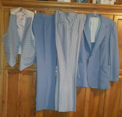 Groovy 1970's Baby Blue Polyester 3 Piece Plaid Suit
