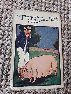 Vintage saucy comedy humour postcard E M  1948 man with a pig
