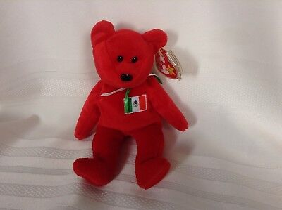 Ty Beanie Baby Red Osito the Bear DOB: February 9, 1999 Case with Tag