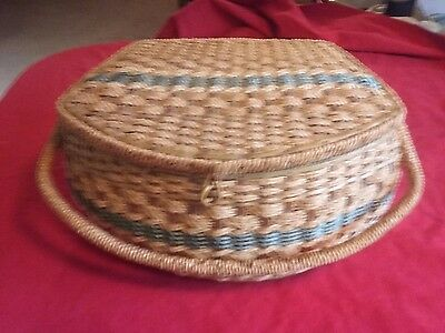 Unique rope wicker sewing basket and entire contents as shown