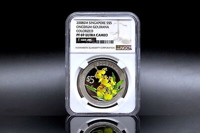 2008 Heritage Orchids Of Singapore $5 Silver Proof Coin NGC PF69 Ultra Cameo