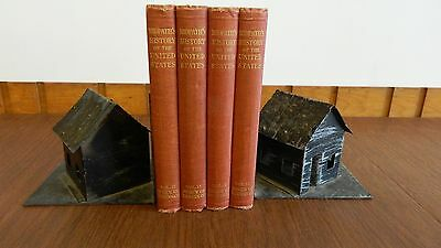 VINTAGE Tin House Bookends + 4 Vol. John Clard Ridpath History of the U.S. books