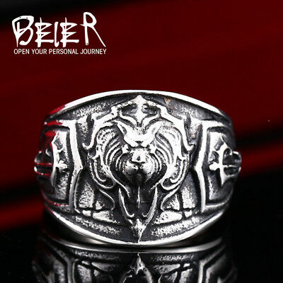 Beier new store world of warcraft The Alliance lion 316L Stainless Steel high...