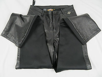Harley Davidson Women's Black Leather Fronts Back Spandex Size 36/8 W Pants