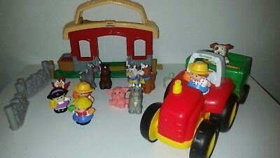 Fisher Price Little People Horse Stable Barn Farm Animals Real Sounds Tractor