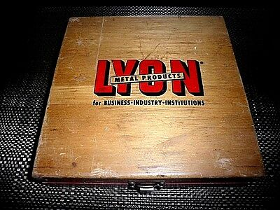 Vintage Rare LYON Metal Products for business industry institutions Wooden BOX