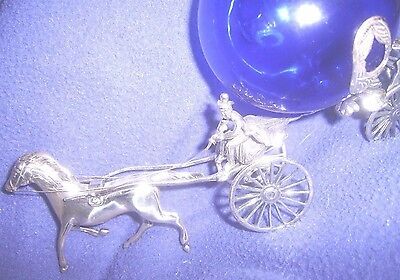 VTG ITALY Miniatures STERLING SILVER GLASS CARRIAGE HORSE HANDMADE FIGURINE HTF