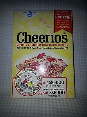 1973 Vintage CHEERIOS Cereal Box-SKI-DOO SAFETY DECAL-Snowmobile-Ships Worldwide