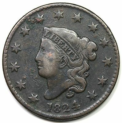 1824 Coronet Head Large Cent, F-VF detail