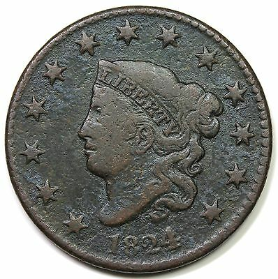 1824/2 Coronet Head Large Cent, F-VF detail