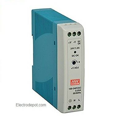 24V Power Supply DIN Rail  24W, 1A 24VDC Switching UL AC in 120v 220v Industrial
