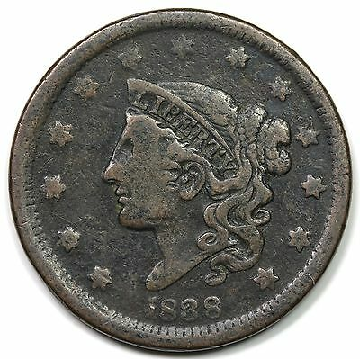 1838 Coronet Head Large Cent, F-VF detail