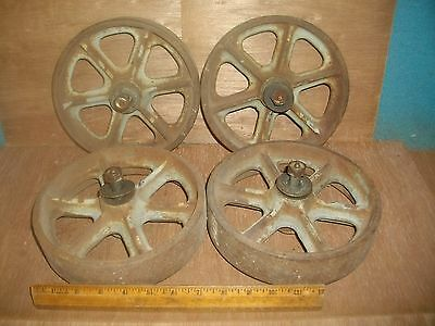 "M427 Set Of 4 Cast Iron Industrial Cart Wheels 8"" With Bearings"