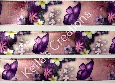 """Butterfly/Flowers Grosgrain Ribbon 7/8"""" Sold by 2 M -Craft - Hair bows etc"""