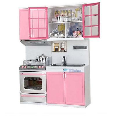 Pink Kids Kitchen Pretend Play Cooking Set Cabinet Stove Toy Gift Fun Toy Hot NH