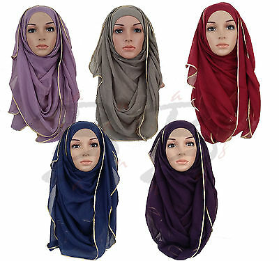 ♡♡ Gold Satin Hijab ♡♡ Plain Maxi Scarf Oversized Ribbon Shawl Sarong Wrap Cape
