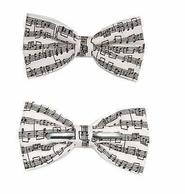 New Men's Sheet Music Clip-On Cotton Bow Tie