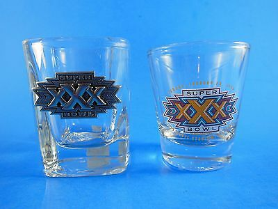 Super Bowl 30 XXX Shot Glasses one with Heavy Thick Glass and Metal lot of 2