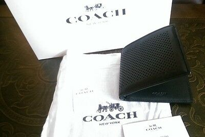 NWT Coach Mens Wallet - Black - Bifold Perforated Leather F75278 with Gift Box