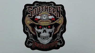 "1 pc SOUTHERN SKULL HAT Biker Emb. Patch 7-1/2X6-5/8"" sew/iron-on"