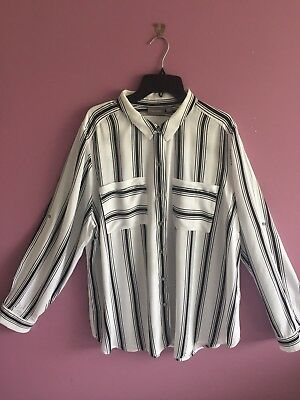 Sussan Black and White Striped Shirt size 16