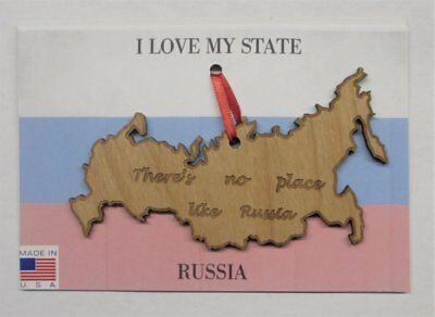 There's No Place Like Russia Wood Ornament Made in the USA