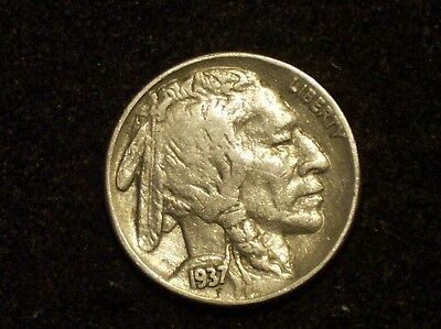 """VF+ 1937 Buffalo Head Nickel with DOUBLING of its Date and """"Five Cents"""""""