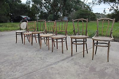 7 X Vintage Antique Bentwood Chairs Dining Timber Mid Century