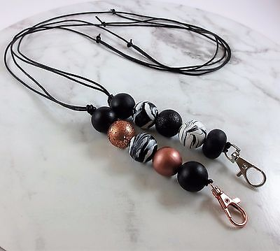 SOLD OUT Lanyard I.D Badge Cruise Card Holder black rose gold marble gen leather