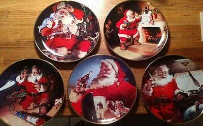 Set of 5 franklin mint coca cola christmas plates