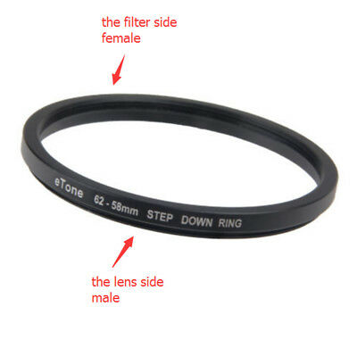 eTone 62-58mm Step Down Metal Filter Ring Adapter 62mm Lens to 58mm AccessoryNew