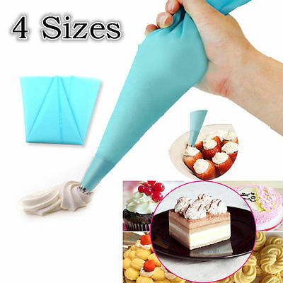 Silicone Reusable Icing Piping Cream Pastry Bag Cake Decorating Tool DIY 4 Sizes
