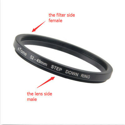 eTone 52mm Lens to 49mm Accessory 52-49mm Step Down Metal Adapter Filter Ring