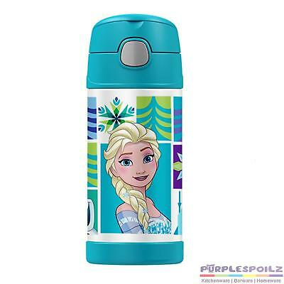 THERMOS FUNTAINER DRINK BOTTLE 355ml Container Insulated Anna Elsa FROZEN BLUE