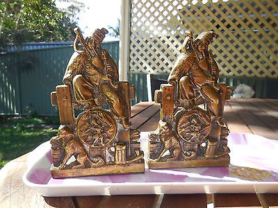 Very Old Bookends, Bronze, Irish Man Playing Uilleann Pipes